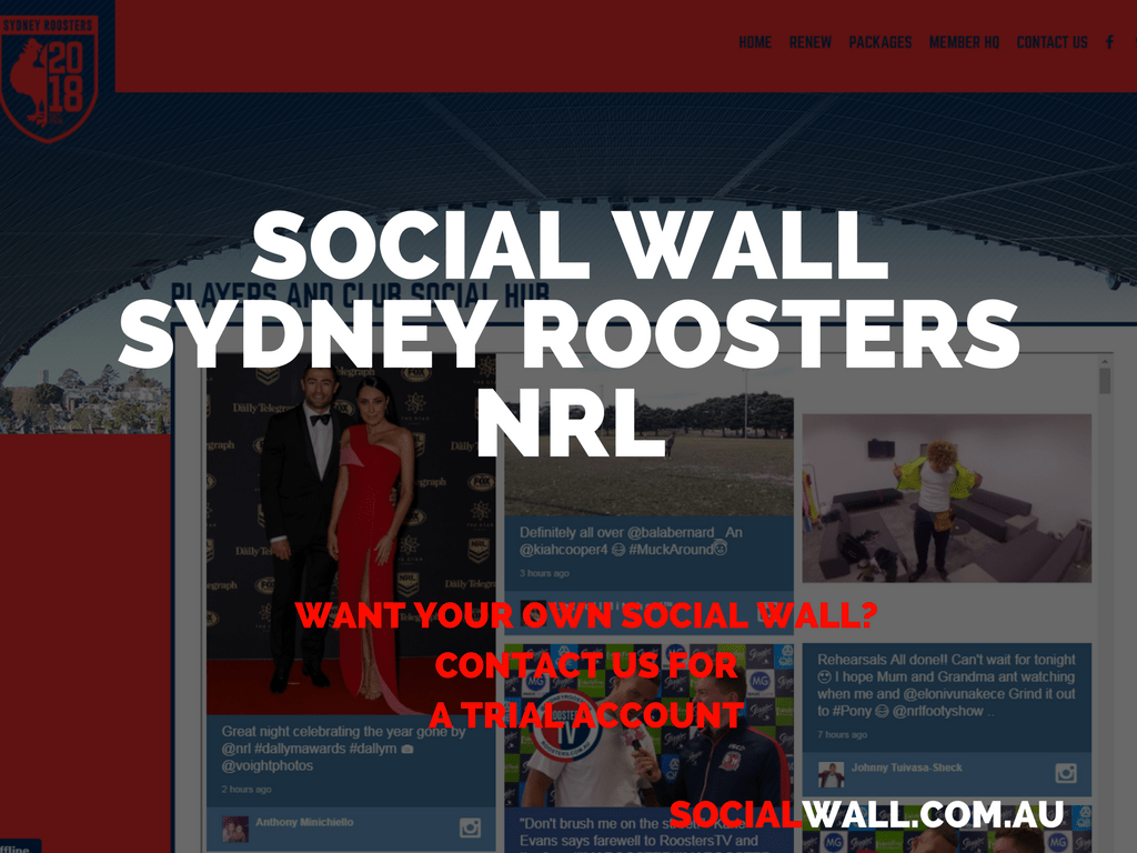 SOCIAL WALL SYDNEY ROOSTERS NRL
